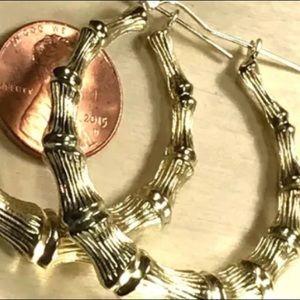 GOLD Bamboo HOOP earring 10k 5.1g 45mm